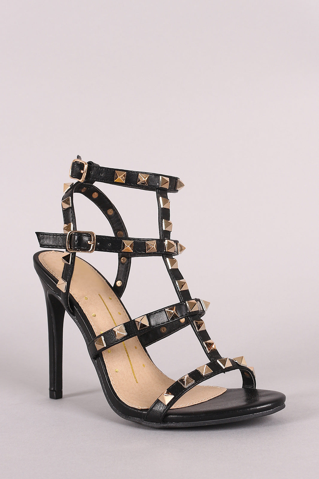Studded T-Strap Open Toe Stiletto Heel