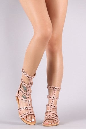 Jeweled Suede Gladiator Sandal