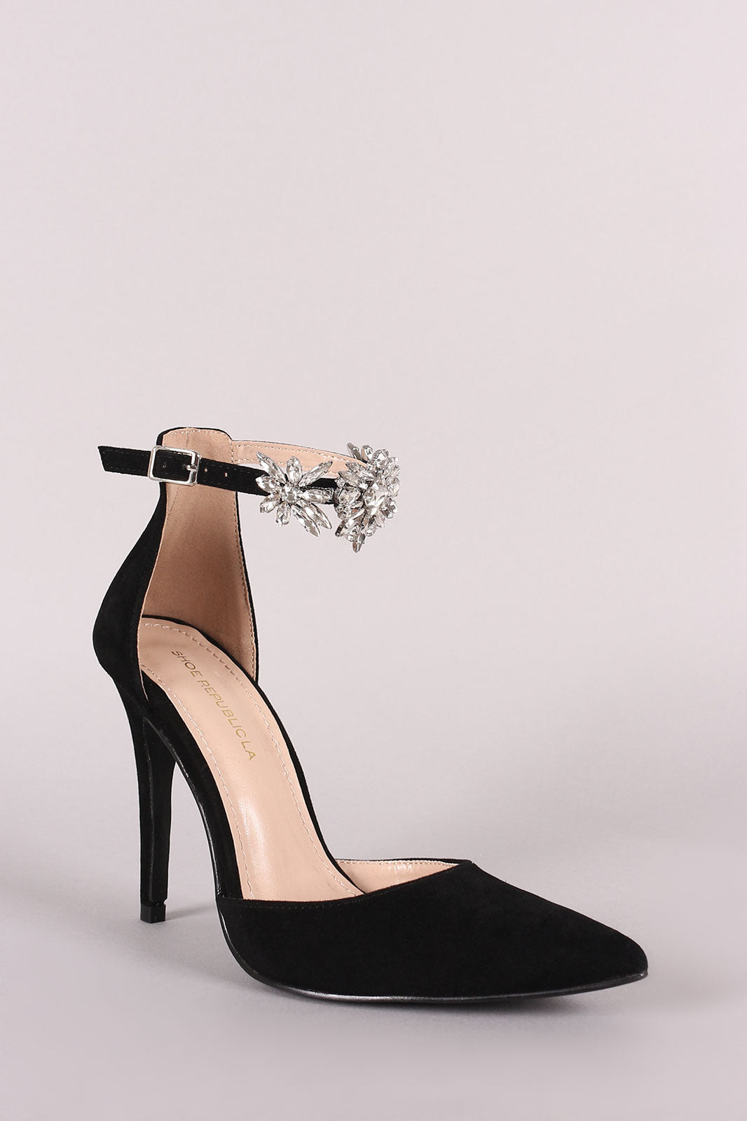 Jeweled Ankle Strap Pump