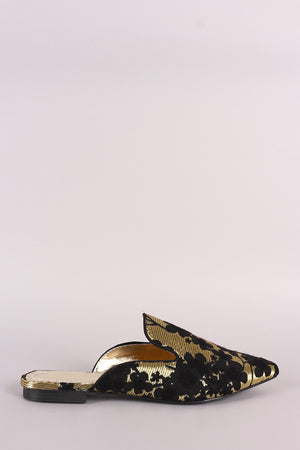 Satin Floral Pointy Loafer