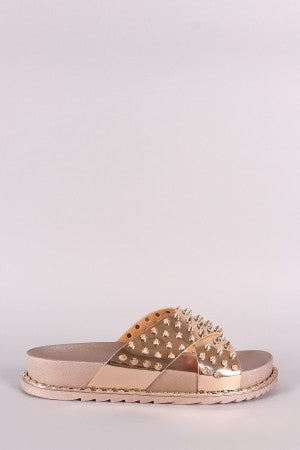 Metallic Crisscross Beaded Slide