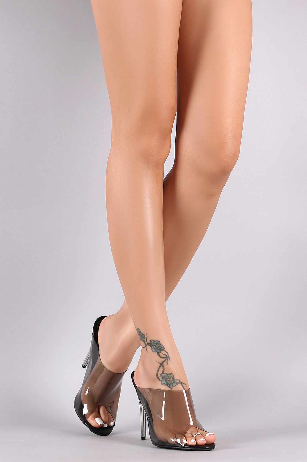 Transparent Peep Toe Mule Stiletto Heel