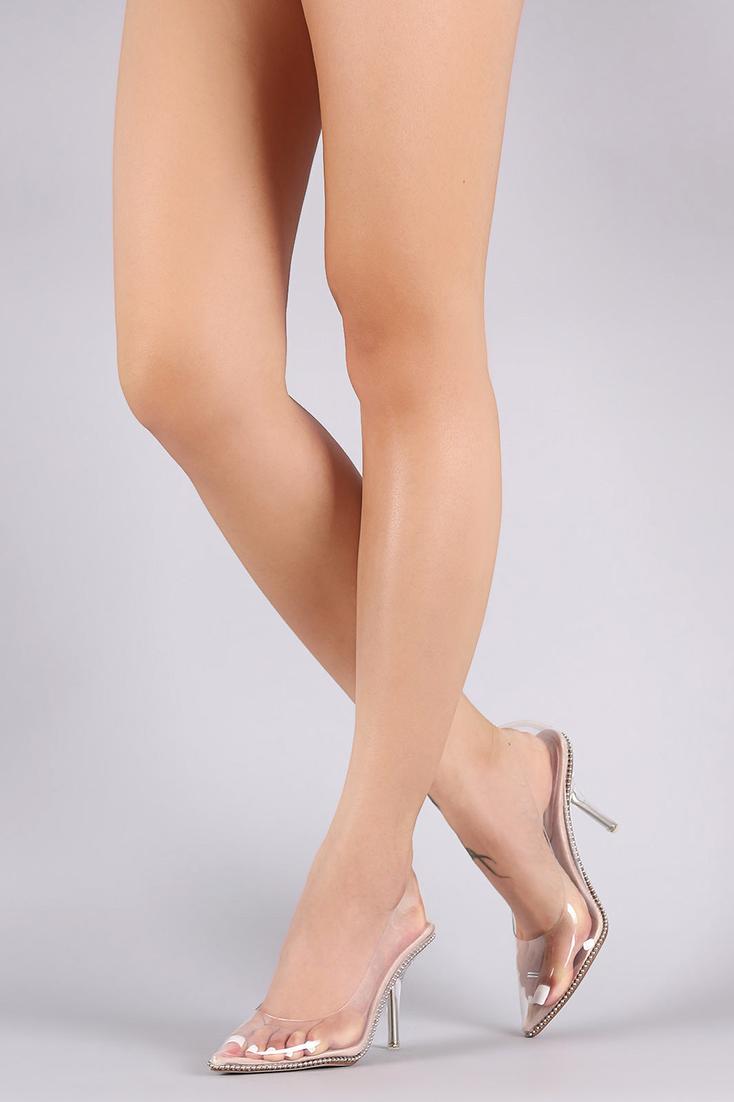 Transparent Stud Trim Stiletto