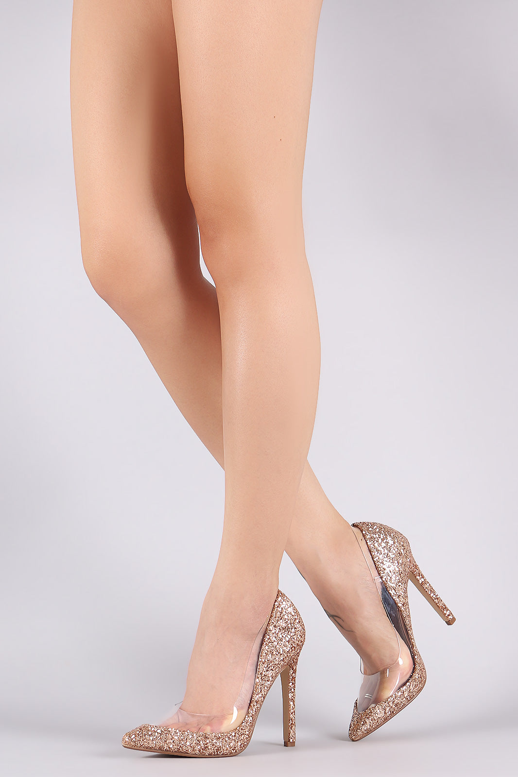 Glitter Encrusted Clear Panel Stiletto