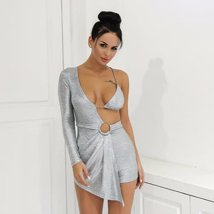 Cut Out Short One Sleeve Romper