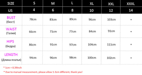 Vneck Mermaid Dress Size Chart
