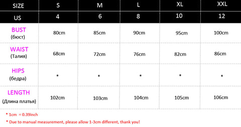 3/4 Sleeve Wedding Party Dress Size Chart