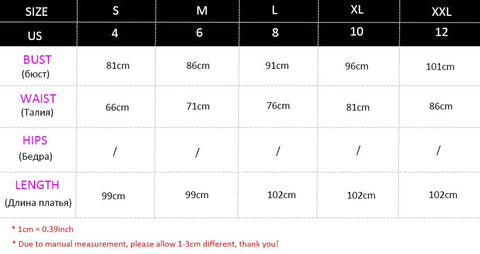 3/4 Sleeve Lace Bodycon Dress Size Chart