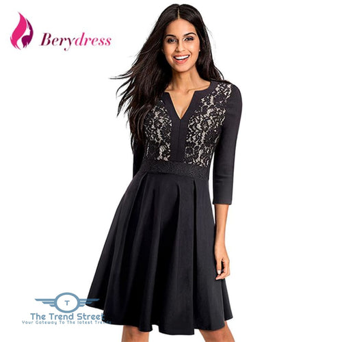 3-4 Sleeve Vneck Lace Dress Dress