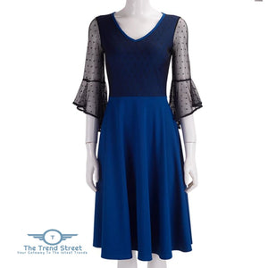 3/4 Flare Sleeves Dress Party (Blue) Blue / S Dress