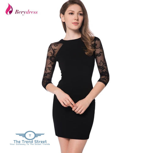 3/4 Sleeve Lace Black Bodycon Dress Dress