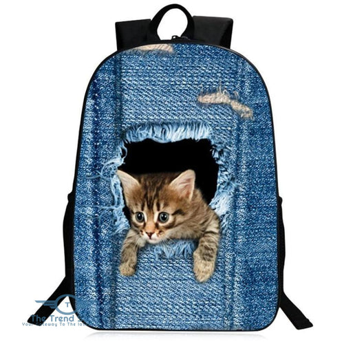3D Animal Pattern Polyester Backpack BLUE