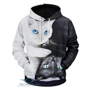 3D Cats Printed Soft Hoodie BLACK / 2XL