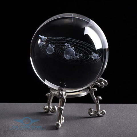 6CM Laser Engraved Solar System Ball 3D Miniature Planets Model Sphere Glass Globe Ornament Home Decor Gift for Astrophile 6 CM / with