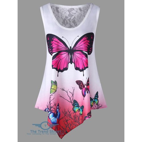 Asymmetrical Butterfly Print Ombre Color Tank Top WHITE / 2XL