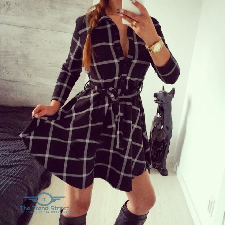 Autumn Plaid Vintage Casual Mini Dress Black Plaid / S Dress