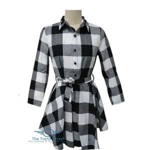 Autumn Plaid Vintage Casual Mini Dress Dress
