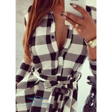 Autumn Plaid Vintage Casual Mini Dress Gray / S Dress