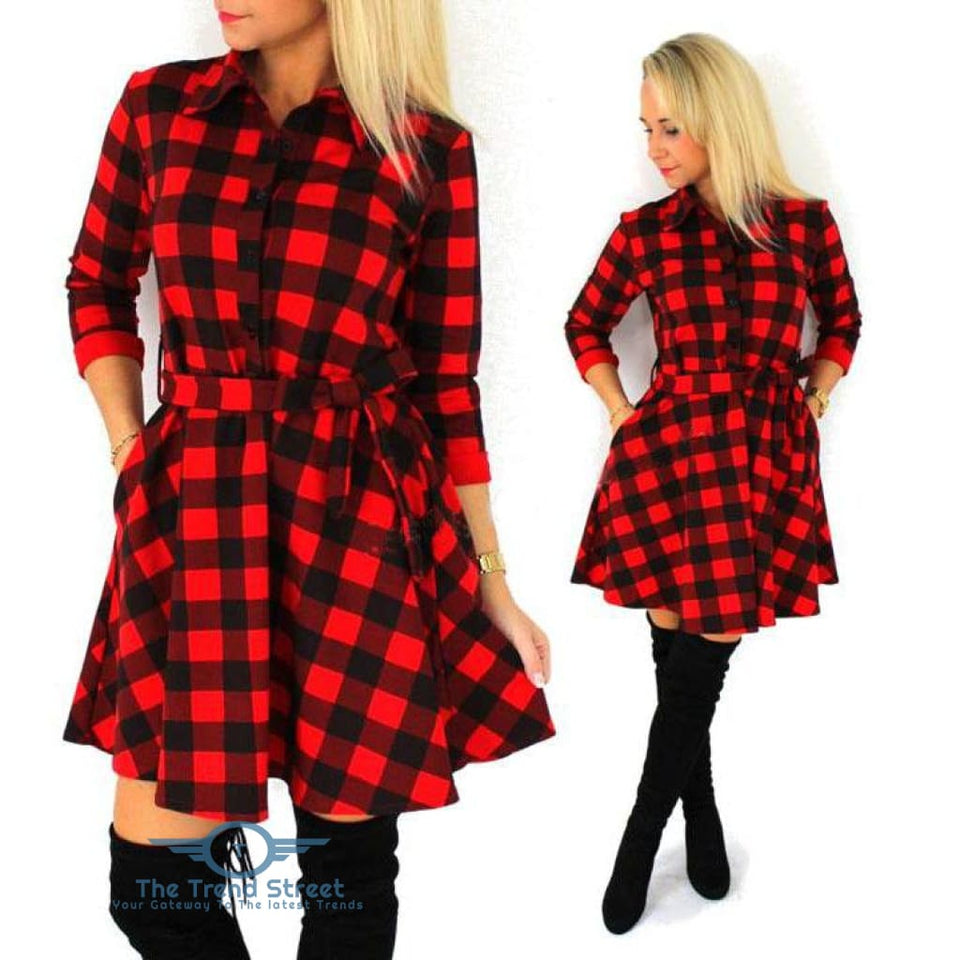 Autumn Plaid Vintage Casual Mini Dress Red Plaid / S Dress