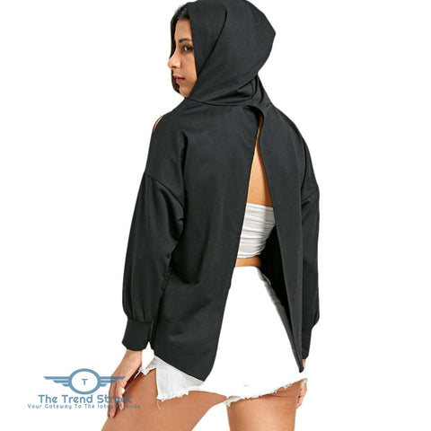Image of Back Slit Dip Hem Hoodie BLACK / L