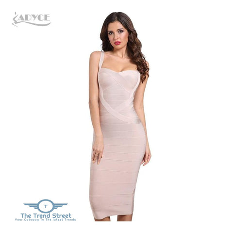 Backless Bandage Bodycon Dress Apricot / L