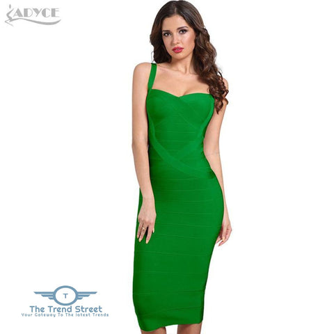 Backless Bandage Bodycon Dress Green / L