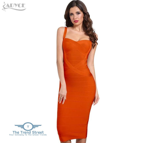 Backless Bandage Bodycon Dress Orange / L