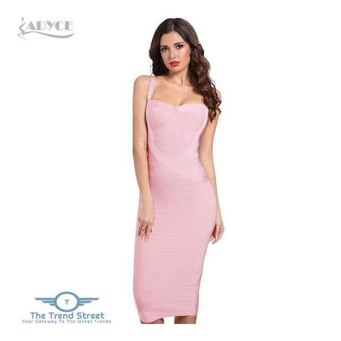 Backless Bandage Bodycon Dress Pink / L