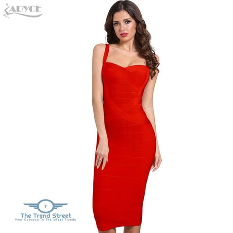 Backless Bandage Bodycon Dress Red / L