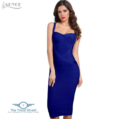 Backless Bandage Bodycon Dress Royal Blue / L