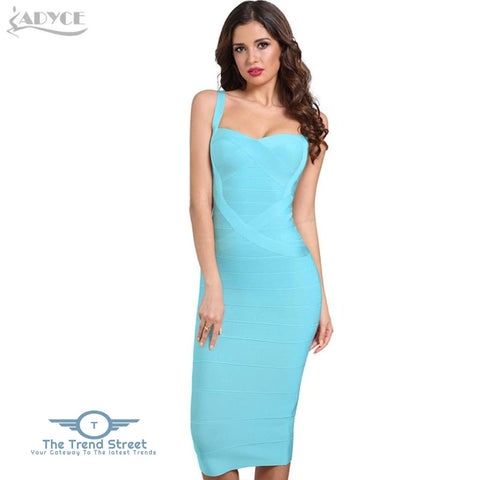 Backless Bandage Bodycon Dress Sky Blue / L