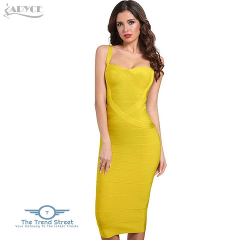 Backless Bandage Bodycon Dress Yellow / L