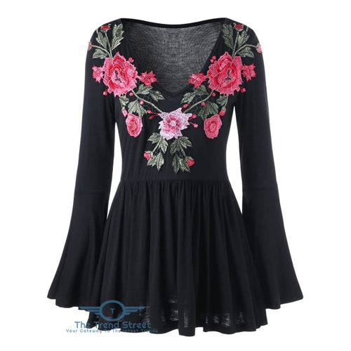 Bell Sleeve Floral Embroidered Peplum Blouse BLACK / L