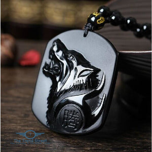 Black Wolf Obsidian Necklace mens necklace