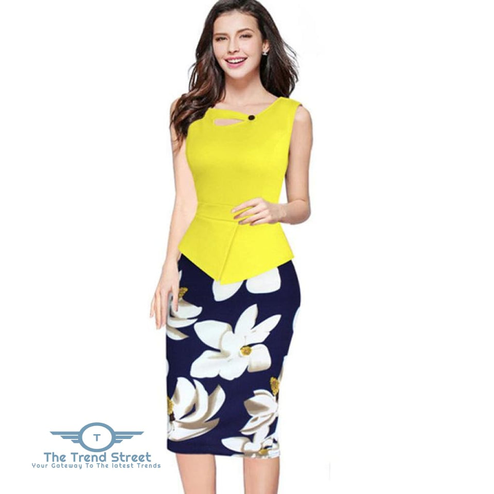 Business Office Attire Bodycon Dress (Floral) Dress