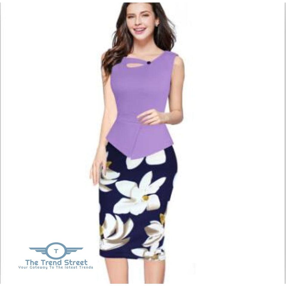Business Office Attire Bodycon Dress (Floral) OX14710 / S Dress