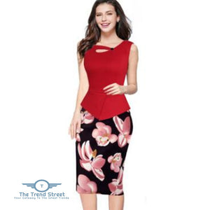 Business Office Attire Bodycon Dress (Floral) OX14711 / S Dress