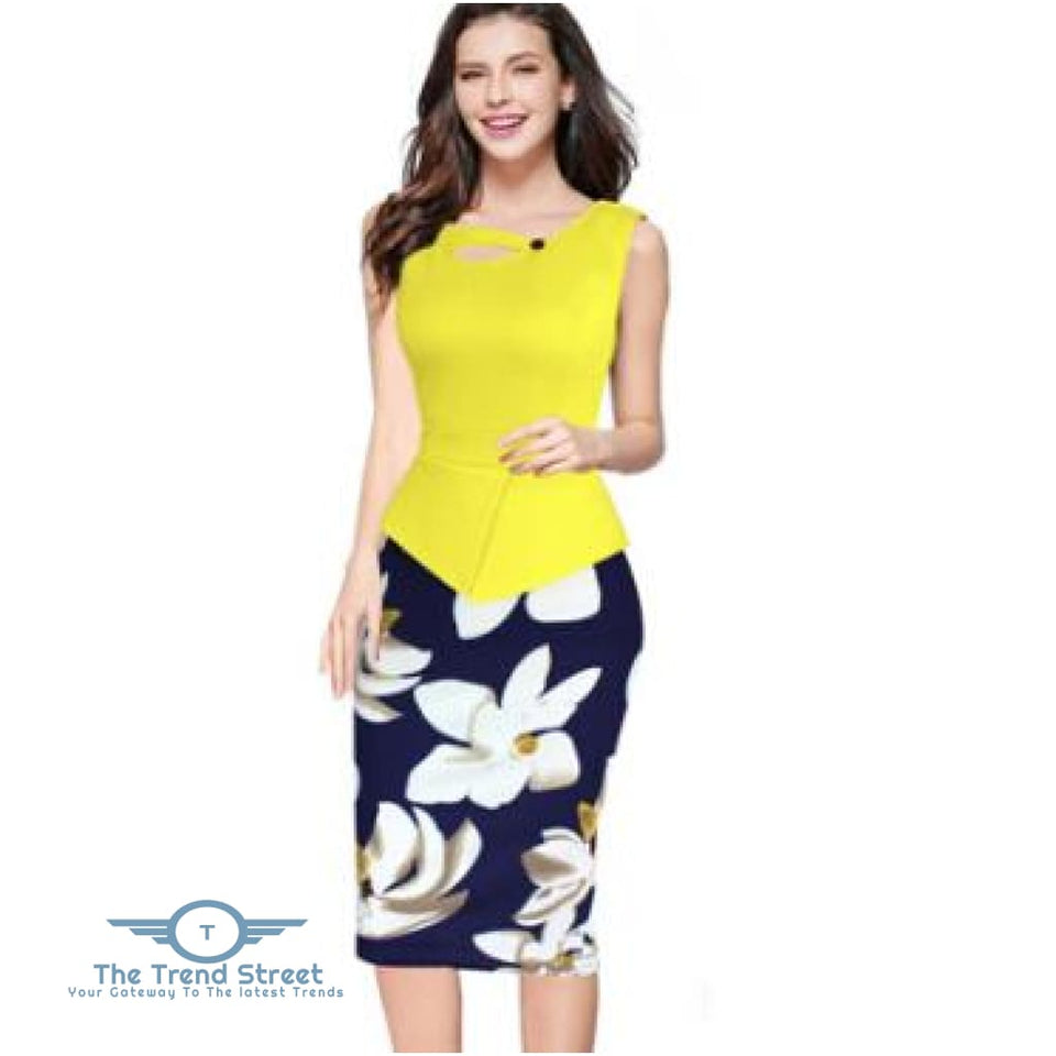 Business Office Attire Bodycon Dress (Floral) OX14712 / S Dress