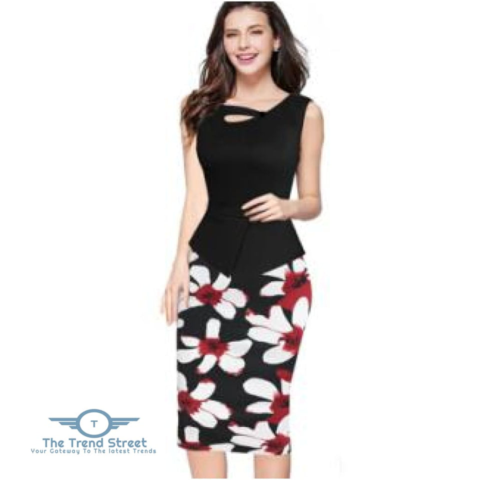 Business Office Attire Bodycon Dress (Floral) OX1472 / S Dress