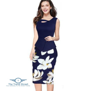 Business Office Attire Bodycon Dress (Floral) OX1473 / S Dress