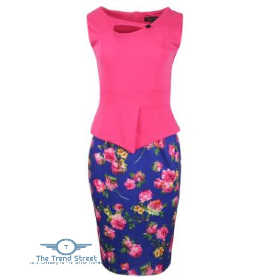 Business Office Attire Bodycon Dress (Floral) OX1476 / S Dress
