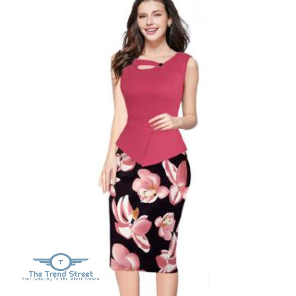 Business Office Attire Bodycon Dress (Floral) OX1478 / S Dress