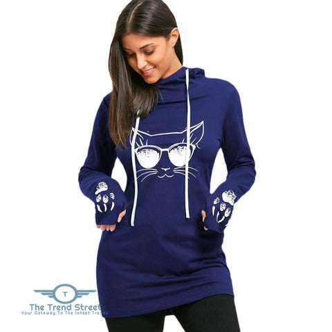 Cartoon Cat Print Drawstring Tunic Hoodie BLUE / L