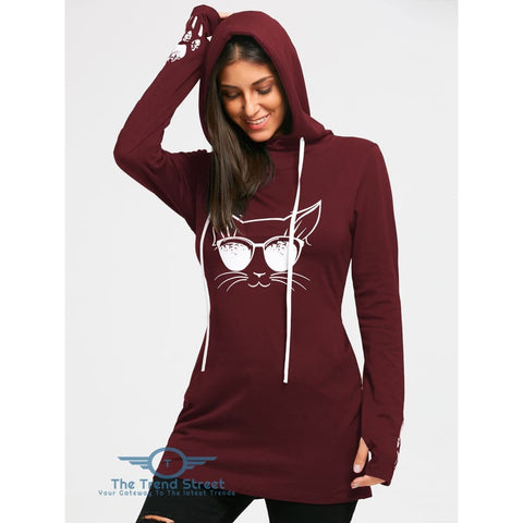 Image of Cartoon Cat Print Drawstring Tunic Hoodie