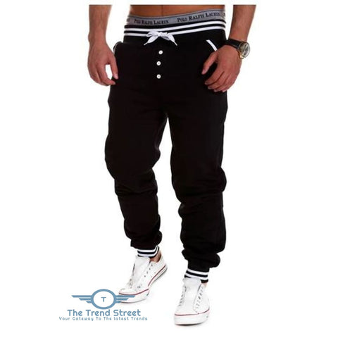 Casual Male Elastic Drawsting Button Design Loose Sports Pants BLACK / M