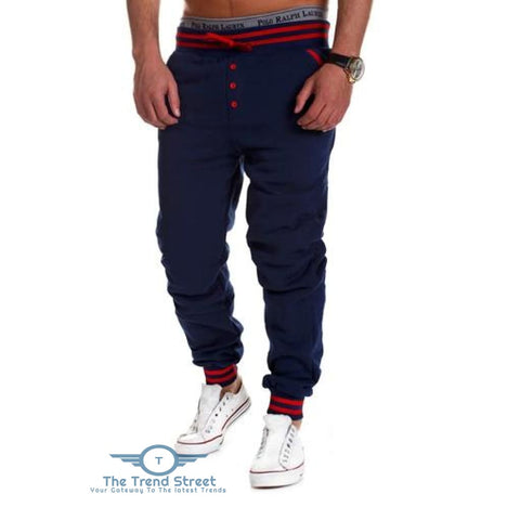 Casual Male Elastic Drawsting Button Design Loose Sports Pants BLUE / 2XL