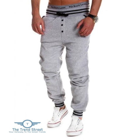 Casual Male Elastic Drawsting Button Design Loose Sports Pants GRAY / L