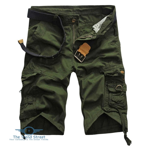 Casual Mid Waist Pure Color Loose-fitting Multiple Pocket Cotton Men Shorts ARMY GREEN / 31