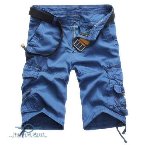 Casual Mid Waist Pure Color Loose-fitting Multiple Pocket Cotton Men Shorts BLUE / 31