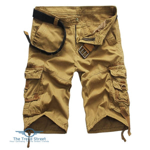 Casual Mid Waist Pure Color Loose-fitting Multiple Pocket Cotton Men Shorts KHAKI / 31